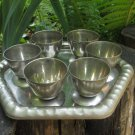 Midcentury lookind small cup set of 6 with tray, Curved silver color Goblets set with tray, Vine/Cog