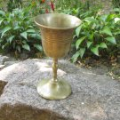 Golden midcentury lookind cup with writing, Dark Golden Goblet Hand Curved For Vine, Game of thrones