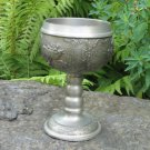 Vintage Medium silver color Goblet with curved siluettes, Midcentury lookind cup with patterns, Vine
