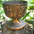 Wide midcentury lookind cup with siluetes, Dark Bronze color Goblet Curved For Vine/Cognac, Game of
