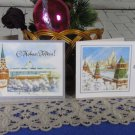 Kremlin Pictures folded in half Christmas Post Cards Set of Two USSR New Year, Classic USSR Set of 2