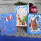 Set of 3 Christams Post Cards On Blue Background Santa Claus with Gifts, Dez Moroz Russian Happy New