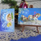 Two Cute and Fancy Fairy Tale Christmas USSR Blue background Christmas Cards, Santa Claus Ded Moroz