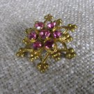 6 Ends Star Brooche With Ponk Rhinestones, Christmas Jewelry Gift For Her, Hannukah Gift Idea, Star