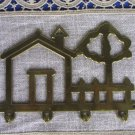 House Shaped With Tree And 4 Hooks Hinge, Golden Colored Brass Metal Four In One Hinge, Kitchen Uten