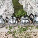 Old Hall Four Pieces Tea and Coffee Set with Sugar Bowl and Teapot, Silver Metal Tea
