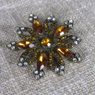 Star Shaped Vintage USSR Shabby Brooch Gift, Ten Ends Star Brooche With Ponk Rhinestones, Christmas