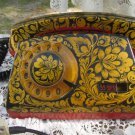 Vintage Old And Shaby Working Khohloma Painted USSR Rotary Telephone, Corded Home Rotary Old Shabby