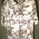 NEW ISLAND SHORES Men's Size M Shirt Washable 100% Silk Button Up Polo Tropical