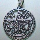 Sterling Silver 925 Tetragrammaton Pentagram Pagan Wiccan Pendant Charm Pendant