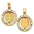 14k Yellow Gold Saint Benedict San Benito Religious Round Charm Pendant