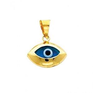 14k Yellow Gold Highly Polished Evil Eye Nazar Charm Pendant