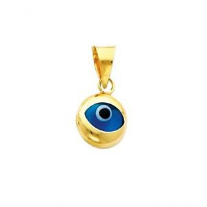 14k Yellow Gold Highly Polished Evil Eye Nazar 3D Charm Pendant