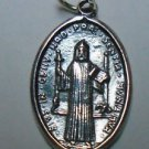 Sterling Silver 925 Saint Benedict San Benito Key Cross Oval Charm Pendant