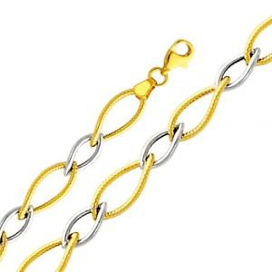 14K Two-Tone Gold Designer Rope Style Ring Link Chain Ladies Bracelet - 7.5""