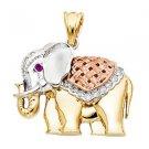 14k Yellow Gold Good Luck Totem Mystical Magic Royal Strength Elephant Pendant