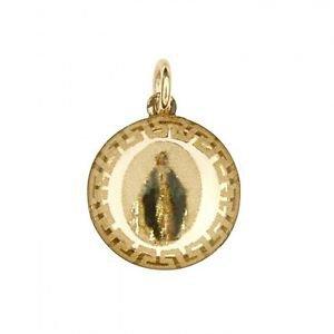 14k Yellow Gold Religious Virgin Mary De Milagros Charm Pendant