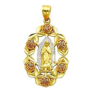 14k Tri-Color Gold Our Lady the Virgin Mary Guadlupe Religious Charm Pendant