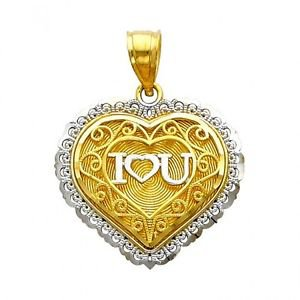 14k Two-Tone Filigree I Love  3 You Heart Shape Design Charm Pendant
