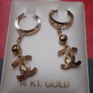 14K Yellow Gold Designer Hanging Dangle Drop Huggie Earrings
