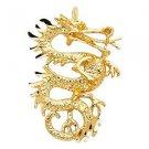 14k Yellow Gold Good Luck Totem Mystical Magic Dragon Yang Light Charm Pendant