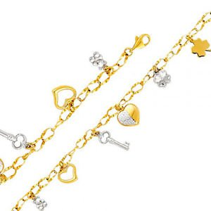 14K Two Tone Gold Designer Link Bracelet w/Teddy Hearts Key & Clovers