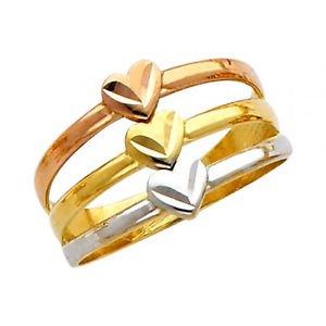 14k Tricolor Diamond Cut Semanario Heart Ring