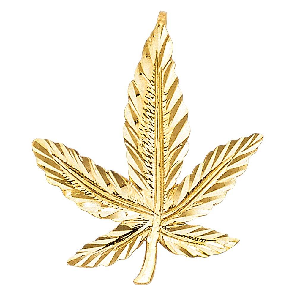 14k Yellow Gold Magic Marijuana Weed Pendant