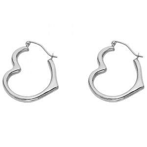 14k White Gold Fancy Designer Heart Shaped Hollow Light Hoop Earrings - 3 mm