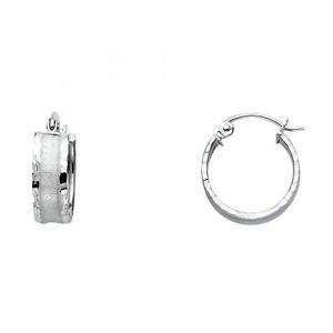 14k White Gold Fancy Designer Diamond Cut Hollow Light Hoop Earrings - 5.0 mm