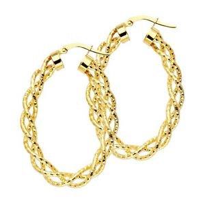 14k Yellow Gold Fancy Designer Light Twisted Diamond Cut Hoop Earrings - 3.0 mm