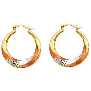 14k Tri Multi Tone Gold Fancy Designer Hollow Light Twist Swirl Hoop Earrings