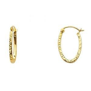 14k Yellow Gold Fancy Designer Hollow Light Diamond Cut Hoop Earrings - 1.8 mm