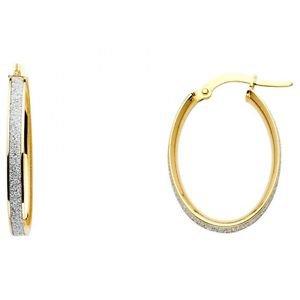 14k Two Tone Gold Fancy Designer Hollow Light Sparkle Center Hoop Earrings - 4mm