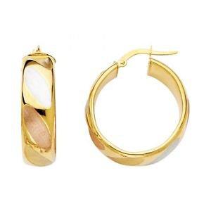 14k Multi Tone Gold Fancy Designer Diamond Cut Hollow Light Hoop Earrings - 8 mm