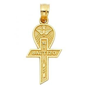 14k Gold Mi Bautizo Holy Spirit Cross Charm Pendant