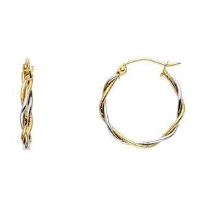 14k Two Tone Gold Fancy Designer Hollow Light Twist Hoop Earrings - 1.5 mm