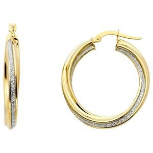 14k Two Tone Gold Fancy Designer Hollow Light Sparkle Center Twist Hoop Earrings