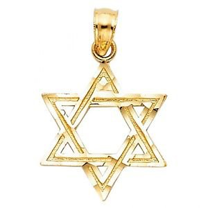 14k Yellow Gold Star of David AS ABOVE SO BELOW Charm Pendant