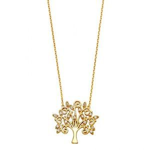 14k Yellow Gold Magical Tree of Life Tube Charm Pendant Necklace