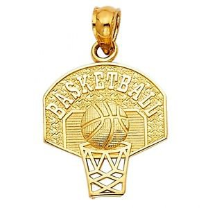14k Yellow Gold Fancy Designer Hoop Basketball Ball Star Charm Pendant