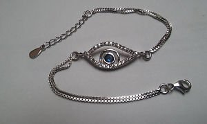 925 Sterling Silver Cubic Zirconia Evil Eye Blue Nazar Lucky Designer Bracelet 7