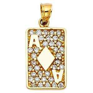 14k Yellow Gold Detail Designer Ace Card CZ Image Charm Pendant