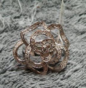 925 Sterling Silver Elegant Designer Rose Flower Plumeria Cz Ring Size 7