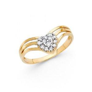 14k Yellow Gold Fancy Designer Heart Cubic Zirconia Engagement Ring Resizable 7