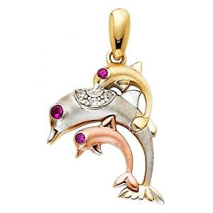 14k Multi Tone Gold Fancy Designer Cubic Zirconia Hopping Dolphin Charm Pendant