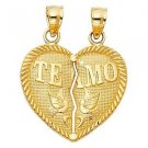 14k Yellow Gold Te Amo I Love  3 You Broken Heart Design Couples Charm Pendant