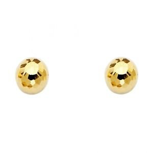 14k Yellow Gold 8mm Designer Vintage Disco Ball Highly Polished Stud Earrings