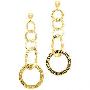 14k Yellow Circular Designer Textured Hanging Dangle Earrings - Push Back Stud