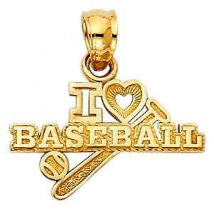 14k Yellow Gold Fancy Designer I Love  3 Baseball Charm Pendant